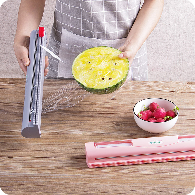 Cling Film Cutter Food Wrap Dispenser/Cutter Kitchen Tool Foil Cling Film Wrap Dispenser Plastic Sharp Cutter Storage Holder #