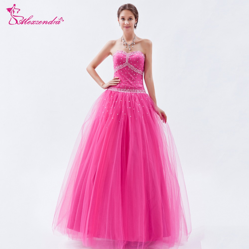 Alexzendra Pink Simple Beaded Long Prom Dresses Customize Simple Sweetheart Evening Dress Party Dresses Plus Size