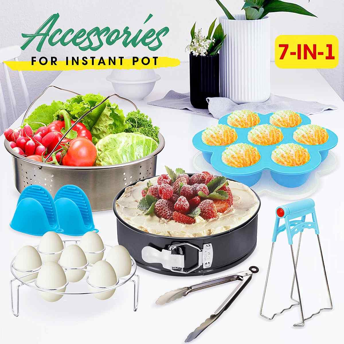 7 pièces accessoires de Pot instantané autocuiseur accessoires panier vapeur en acier inoxydable ustensiles de cuisine cuisine outils de cuisson