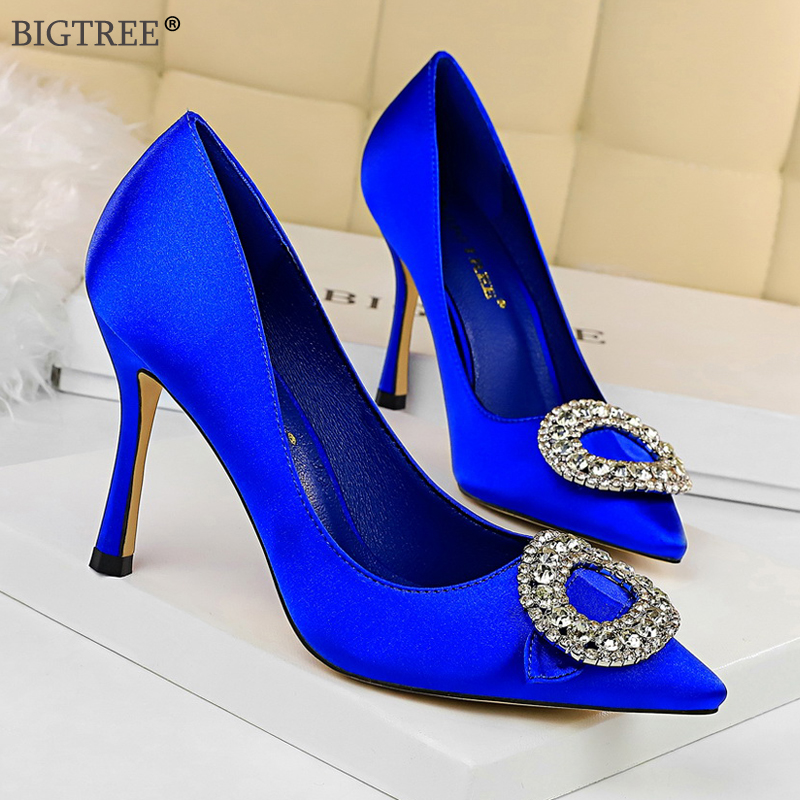 Women high heels Sexy Ladies shoes wine glass heels rounded crystal pumps party dress shoe Elegant pointed toe silk 2019 new