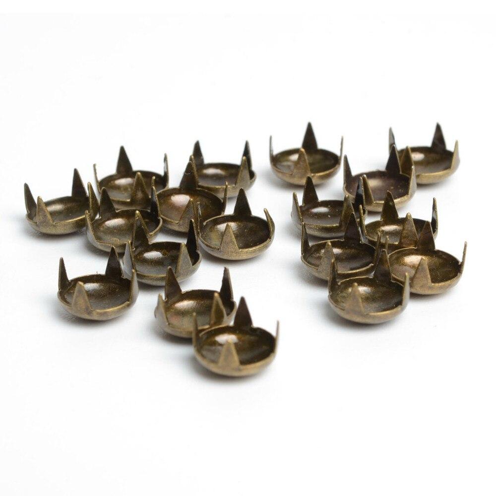 100 ШТ. 8 мм античная латунь круглые коты nailheads заклепки спайк панк сумка браслеты одежда одежда швейные одежды заклепки