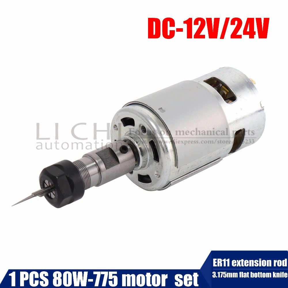 80w 775 Spindle Motor Ball Bearings High Power Motors with Spindle ER11 extension rod +3.175mm flat bottom knife 1pcs 71901 71901cd p4 7901 12x24x6 mochu thin walled miniature angular contact bearings speed spindle bearings cnc abec 7