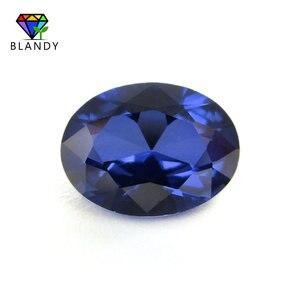 Image 1 - סיטונאי מחיר 3x5mm ~ 13x18mm #34 כחול אבנים סגלגל צורת מבריק לחתוך סינטטי קורונדום אבן אבני חן עבור תכשיטים