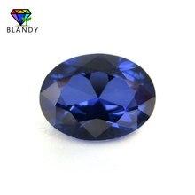 Prix de gros 3x5mm ~ 13x18mm #34 pierres bleues forme ovale brillant coupe corindon synthétique pierres précieuses pour bijoux