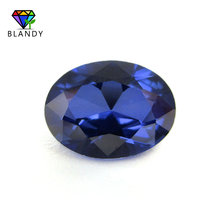 Wholesale Price 3x5mm~13x18mm #34 Blue Stones Oval Shape Brilliant Cut Synthetic Corundum Stone Gems for Jewelry