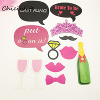 1set Funny Hen Party Photo Props Bride Groom Glasses On A Stick Photo Booth Props Wedding