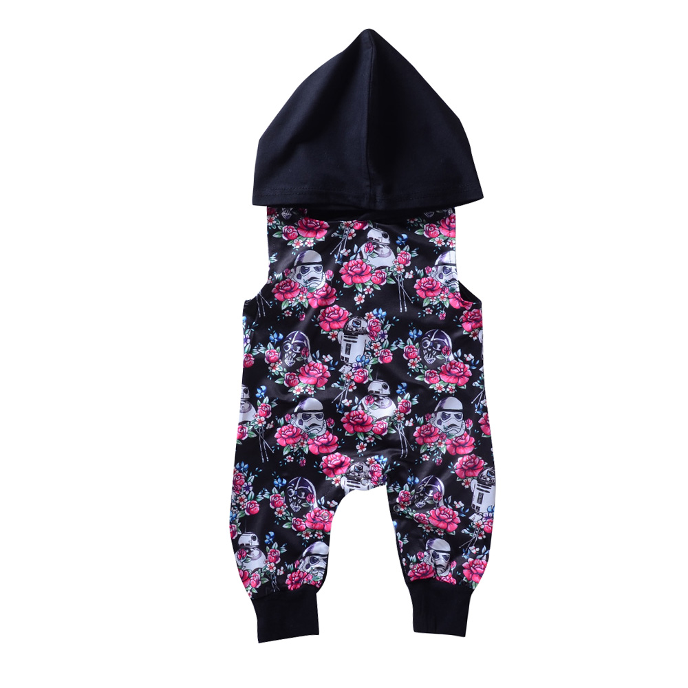 Cool Baby Clothes Pink Floral Hoodies Mameluco Jedi sin mangas Mono - Ropa de bebé