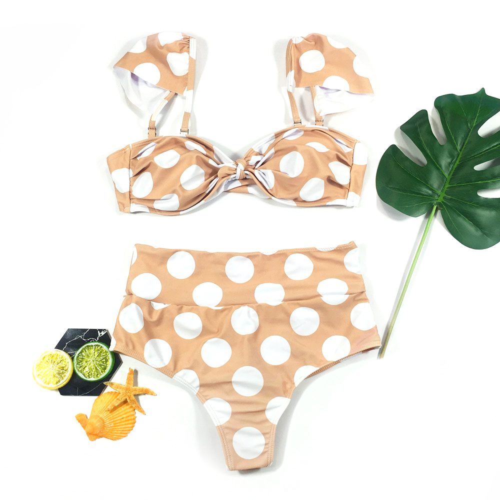 Retro Polka Dot High Waisted Bikini Removable Sleeves 4