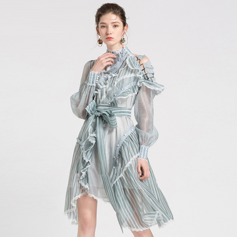 High Quality New Fashion 2018 Women Stand Neck Long Sleeves Striped Paint Ruffled Sexy Cross Straps Strapless Irregular Dress