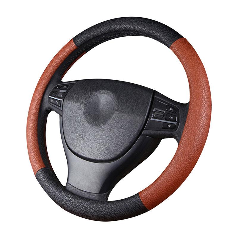 GLCC Braided Leather Steering Wheel Genuine Leather Soft Anti-slip Breathable Black Brown Camo Steering Wheel Cover