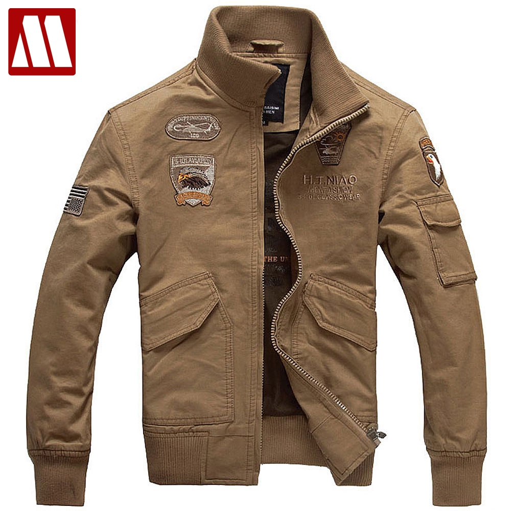 Mens Embroid USA Air Force Bomber Jacket Have Armbands Cool Men's Cotton Rib Mandarin Collar military Jackets Plus size XXXXL-in Jackets from Men's Clothing    1