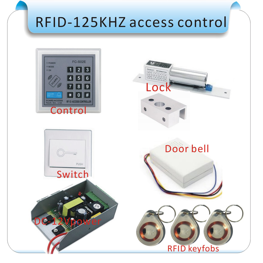 Free shipping Rfid Door Access Control System Kit Set +Strike Door Lock +Rfid crystal Keypad + Exit Button IN STOCK free shipping new metal rfid door access control system kit set strike door lock power exit button 2 remote controller