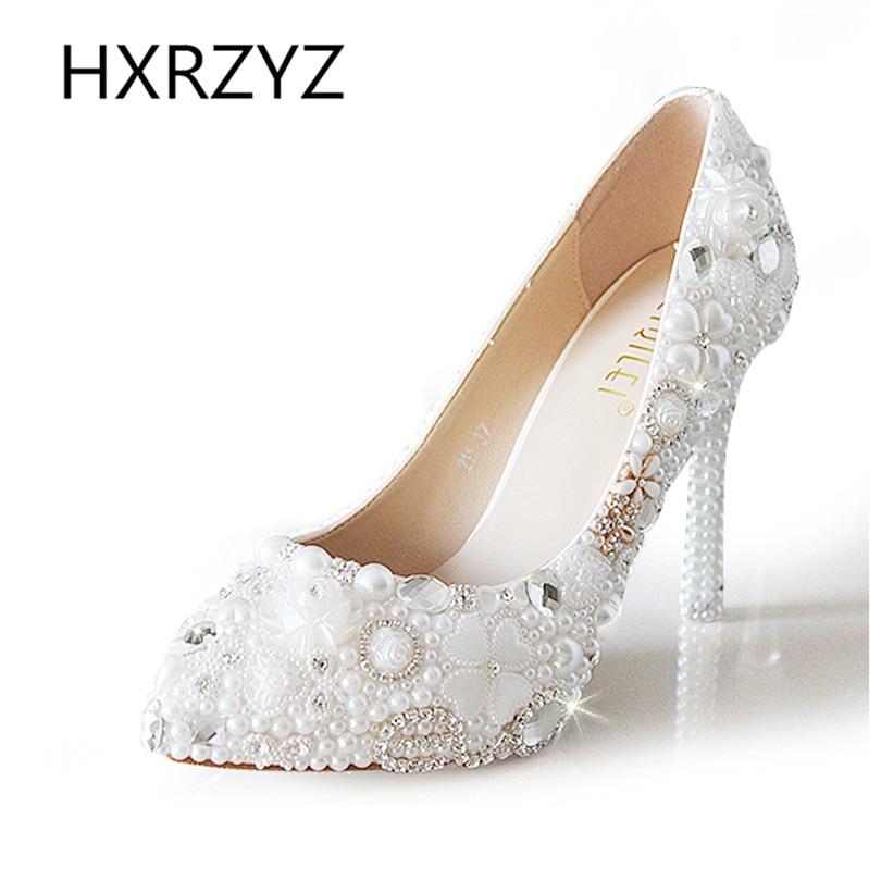 ФОТО 11 cm/5 cm Handmake Crystal Luxury White Pearl Rhinestone Wedding Shoes Women Pointed Toe High-heeled Single Shoes Bride Pumps