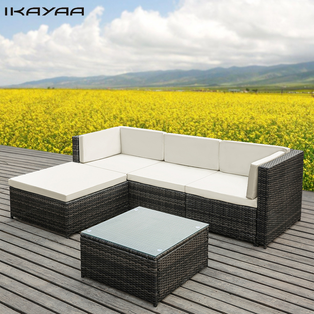 ikayaa 5pcs pe rattan wicker patio garden furniture sofa set with cushions outdoor corner sectional couch set us fr de stock - Garden Furniture Sofa Sets
