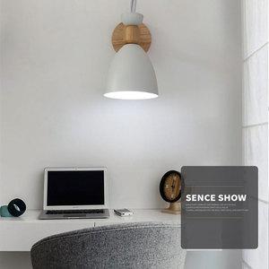 Image 2 - Lampe murale nordique en bois massif, lampe de chevet créative et simple, pour salon, escalier, hôtel, allée, chambre à coucher