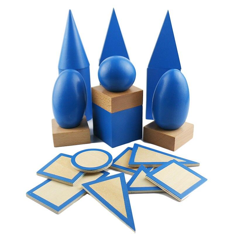 Montessori matériel de mathématiques préscolaire Montessori sensoriel solide bloc de géométrie aides pédagogiques d'apprentissage précoce pour les enfants UB0967H