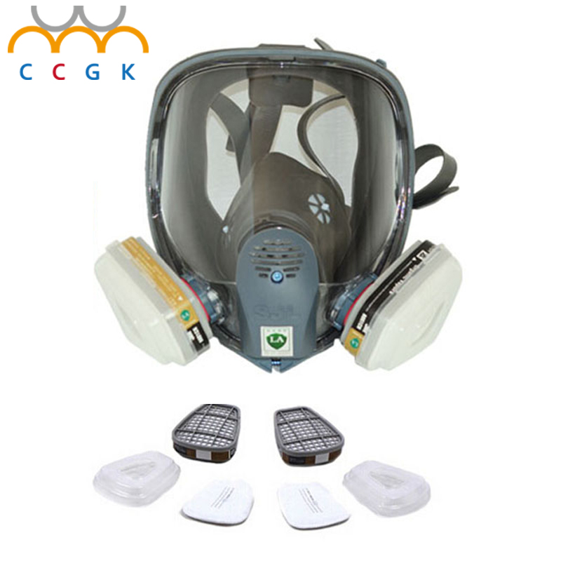 2017 New Full Face Gas Mask Cartridge Organic Vapor Respirator Mask Spray Paint Anti-dust formaldehyde Fire comparable 6800 new safurance protection filter dual gas mask chemical gas anti dust paint respirator face mask with goggles workplace safety