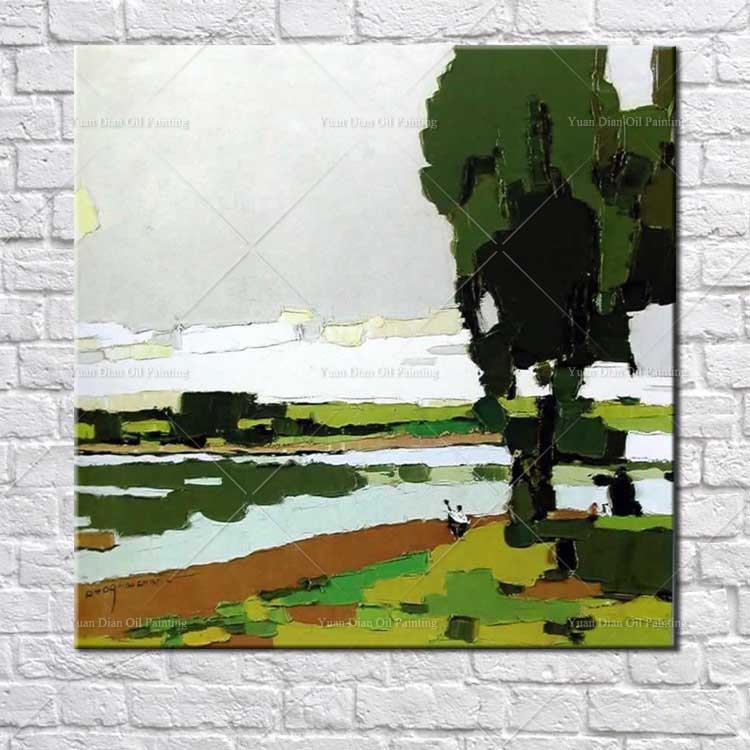 River Palette knife Kid Oil Painting On Canvas Home Decoration Wall Art Landscape Oil Painting Modern Hand Painted Oil Painting