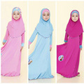 2017 Muchachas de la Nación Islámica Musulmán Vestido Largo Vestido + Pañuelo + Bowknot 3 unidades Musulmán Sólido Niños ropa Para Niños colores Traje