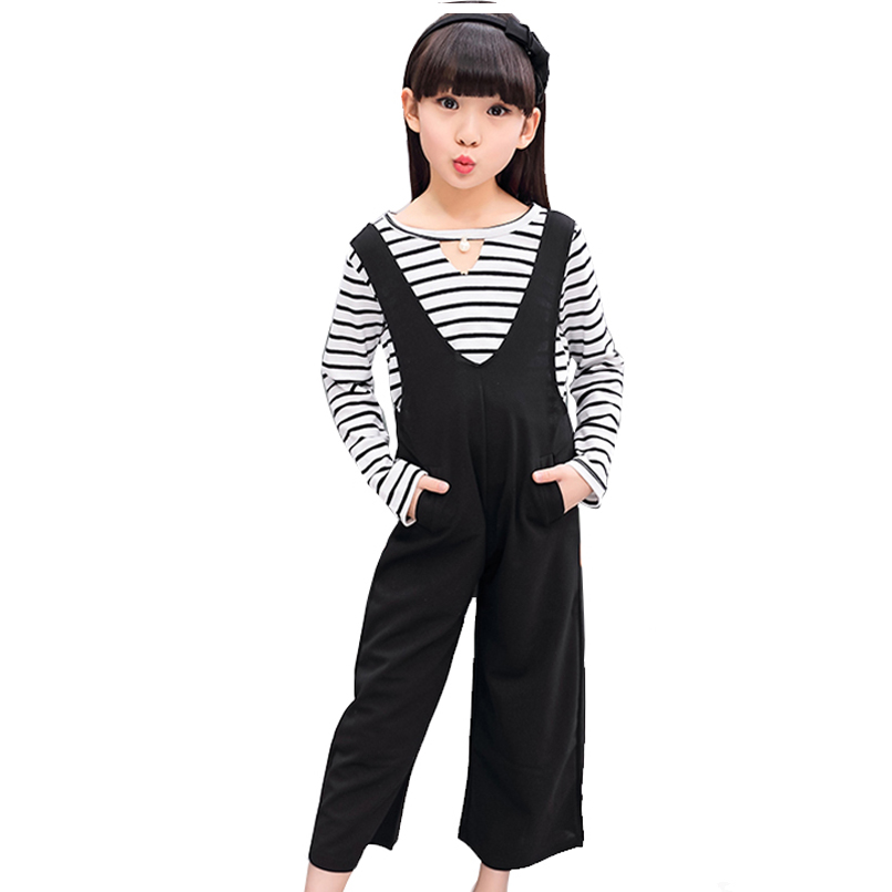 Children Clothing Sets For Girls Cotton Striped T-Shirts & Overalls 2Pcs Autumn Girls Tees Children Wide Leg Pants Kids Outfits  2017 spring longsleeve cotton t shirts for girls clothing tops baby kids clothes lace bowknot korean style children girls tees