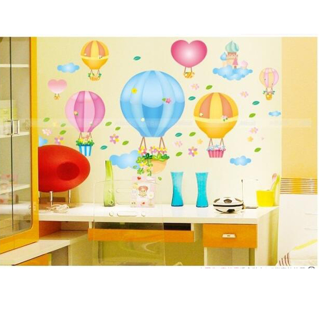 Hot air balloon cute children in kindergarten wall stickers ...