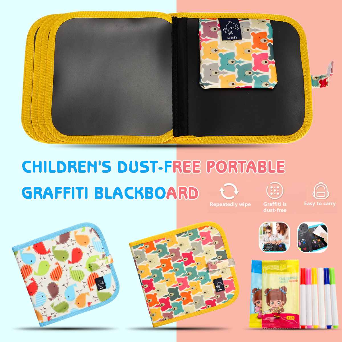 KICUTE Portable Children's Sketchpad DIY Drawing Toys Writing Blackboard Painting Book With 6 Watercolor Chalks Dust-free