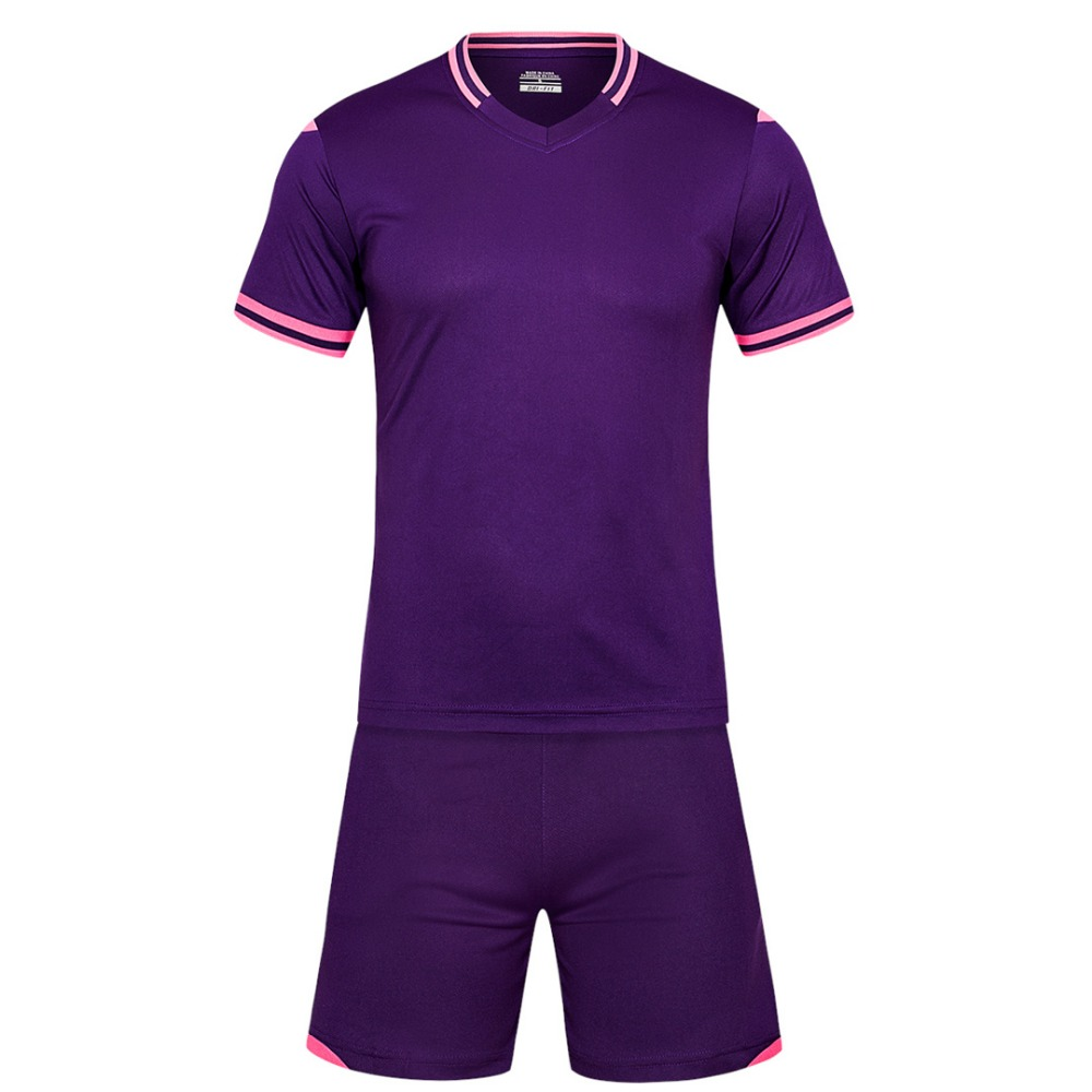 Deep purple Men short sleeve 2018/color size tracking Purple kits jersey adult soccer football suit Football Jersey
