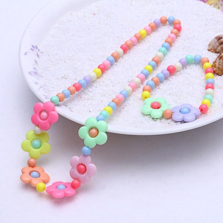 1 комплект, милые подарки для девочек, детские аксессуары для принцесс, наборы, разноцветные акриловые бусины, цветок, ожерелье и браслет - Цвет: 3