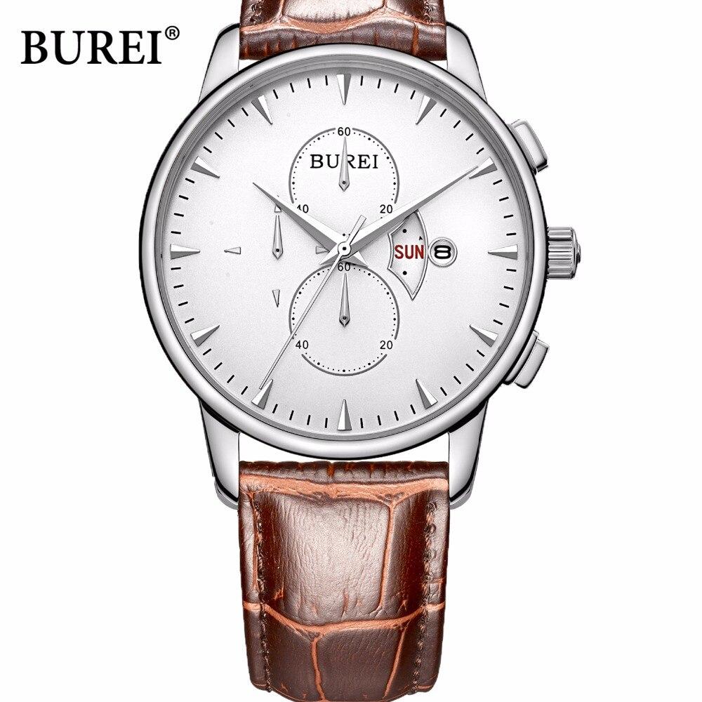 BUREI waterproof sapphire font b watch b font men quartz font b watch b font shock