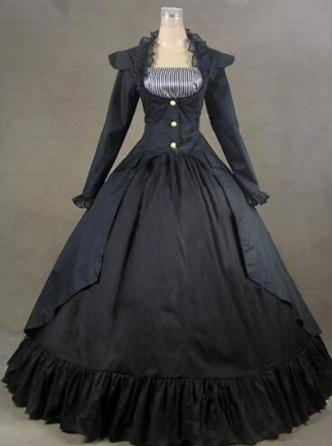 Здесь продается  Can be custom 2015 Retro Black Long Sleeve Adult 18th Century Gothic Victorian Dress /Halloween Civil War Ball Gowns  Одежда и аксессуары