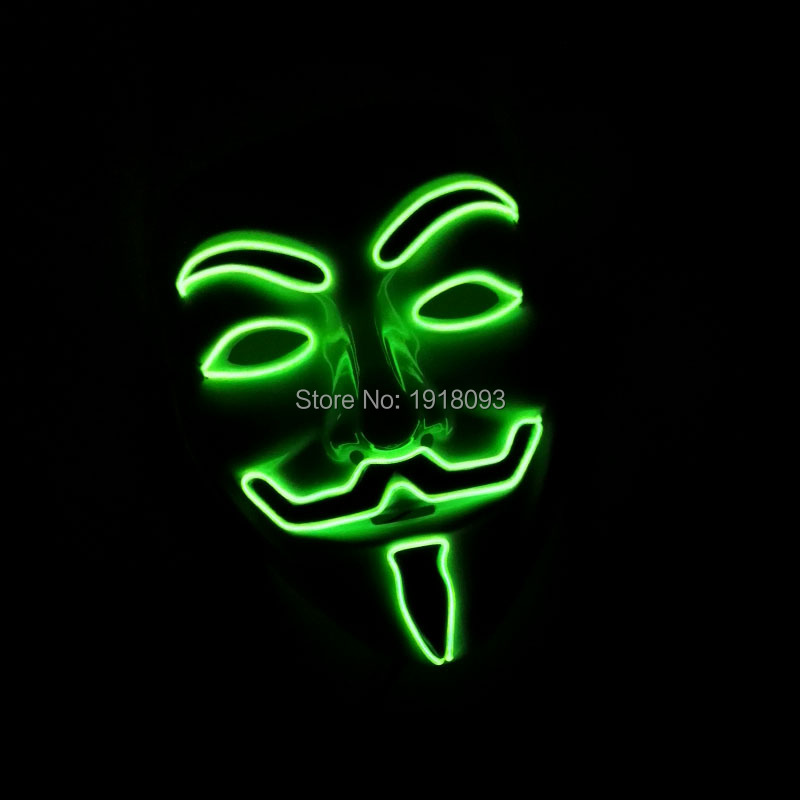 NEW Fashion Flashing Lemon Green EL Wire Vendetta Mask Cosplay LED Mask Novelty Lighting For Party Supplies DC-3V Drive