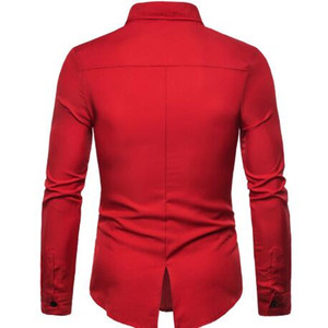 Image 2 - 2019 yaz yüksek kaliteli erkek moda kişiselleştirilmiş terzilik PU deri dikiş yaka uzun kollu gömlek