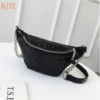 Casual Chain Leather Fanny Pack Waist Bag Casual Waterproof Antitheft Women Walking Shopping Band belt Multi function Bag
