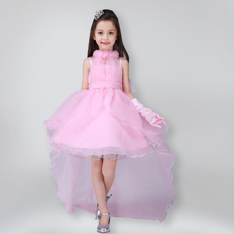 2017 New Summer Baby Girls Party Dress Evening Wear Long Tail Girls Clothes Elegant Flower Girl Dress Kids Baby Dresses h16 2013 hot baby summer new design stylish and elegant multi layered lace roses very beautiful girl in evening dress