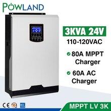 110V falownik solarny hybrydowy 3Kva 2400W inwerter Off Grid 24V 120V 80A MPPT czysta fala sinusoidalna przetwornica 60A ładowarka AC inversor słonecznej