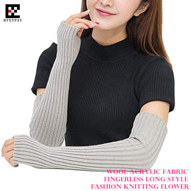 300p Winter Warm Women & Girl's Long Style Gloves,Fashion Wool Knitted Striped Pattern Fingerless Half Finger Gloves Arm Sleeves