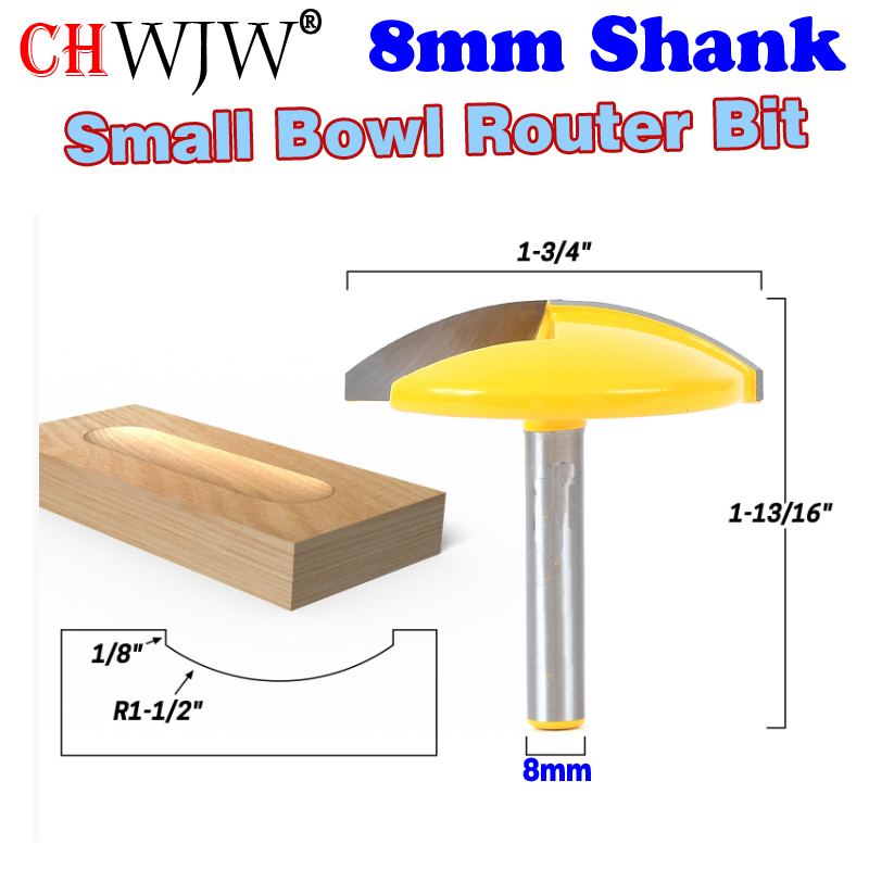 1PC 8mm Shank Small Bowl Router Bit - 1-1/2 Radius - 1-3/4 Wide door knife Woodworking cutter - ChWJW 16170m