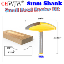 """1PC 8mm Shank mała miska frez 1 1/2 """"promień 1 3/4"""" szeroki nóż drzwi frez do drewna ChWJW 16170m"""