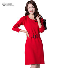 Knitted Pullover Sweater Dress Women New Spring Elastic Knitwear Female Round Neck Long Sleeve Straight Dress With Sashes W1602(China)
