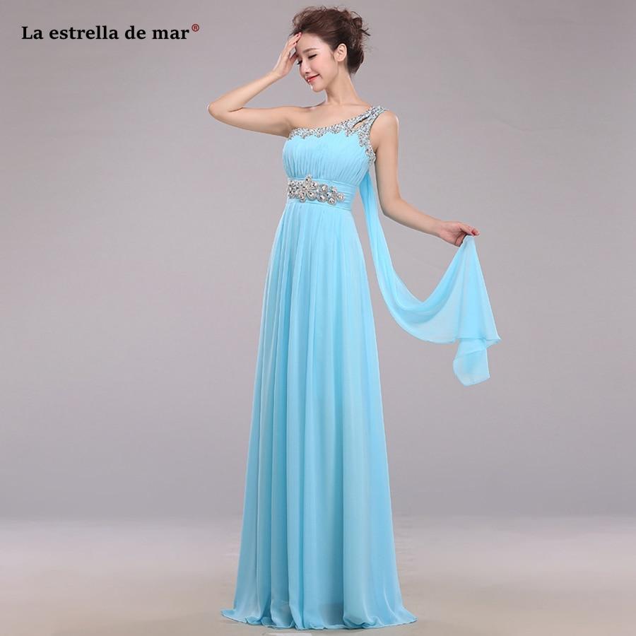 Wedding Guest Dress 2019 One Shoulder Chiffon Crystal Halter Mint Green Sky Blue Purple Emerald Green Bridesmaid Dresses  Long