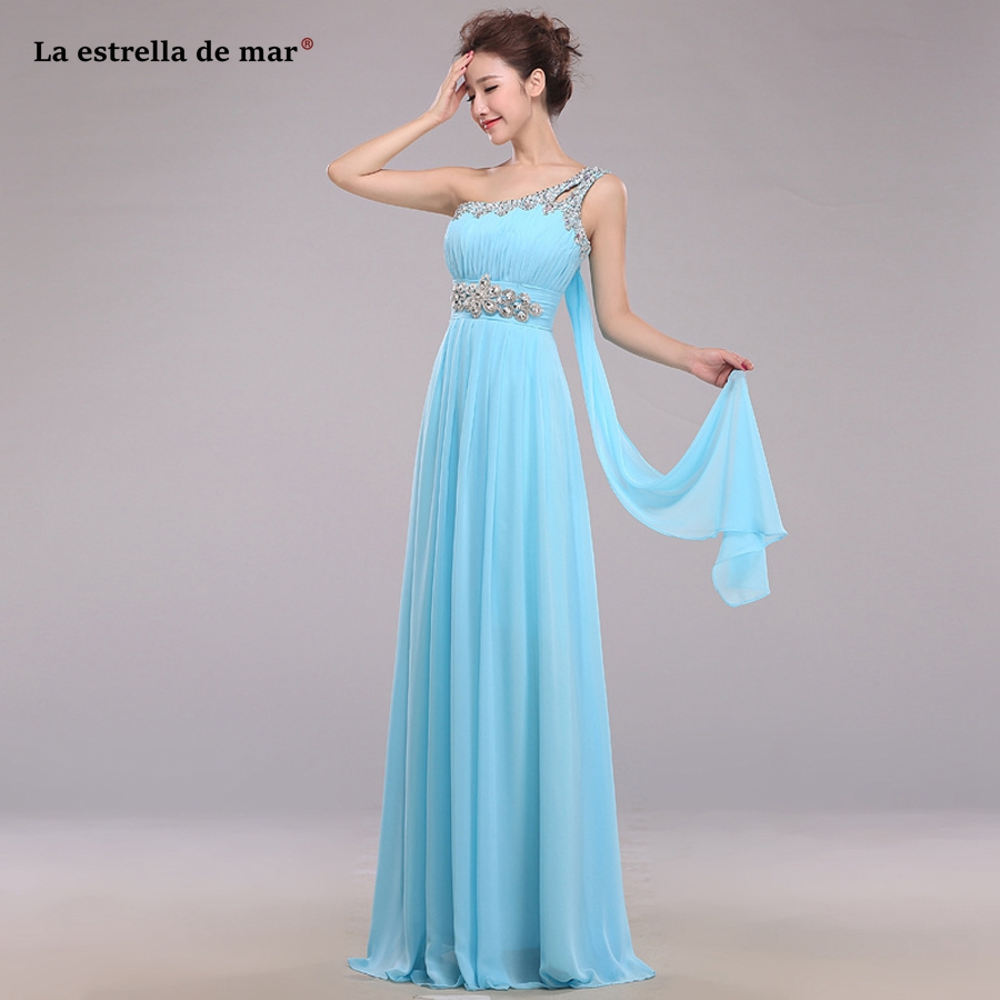 wedding guest   dress   2019 one shoulder chiffon crystal halter mint green sky blue purple emerald green   bridesmaid     dresses   long