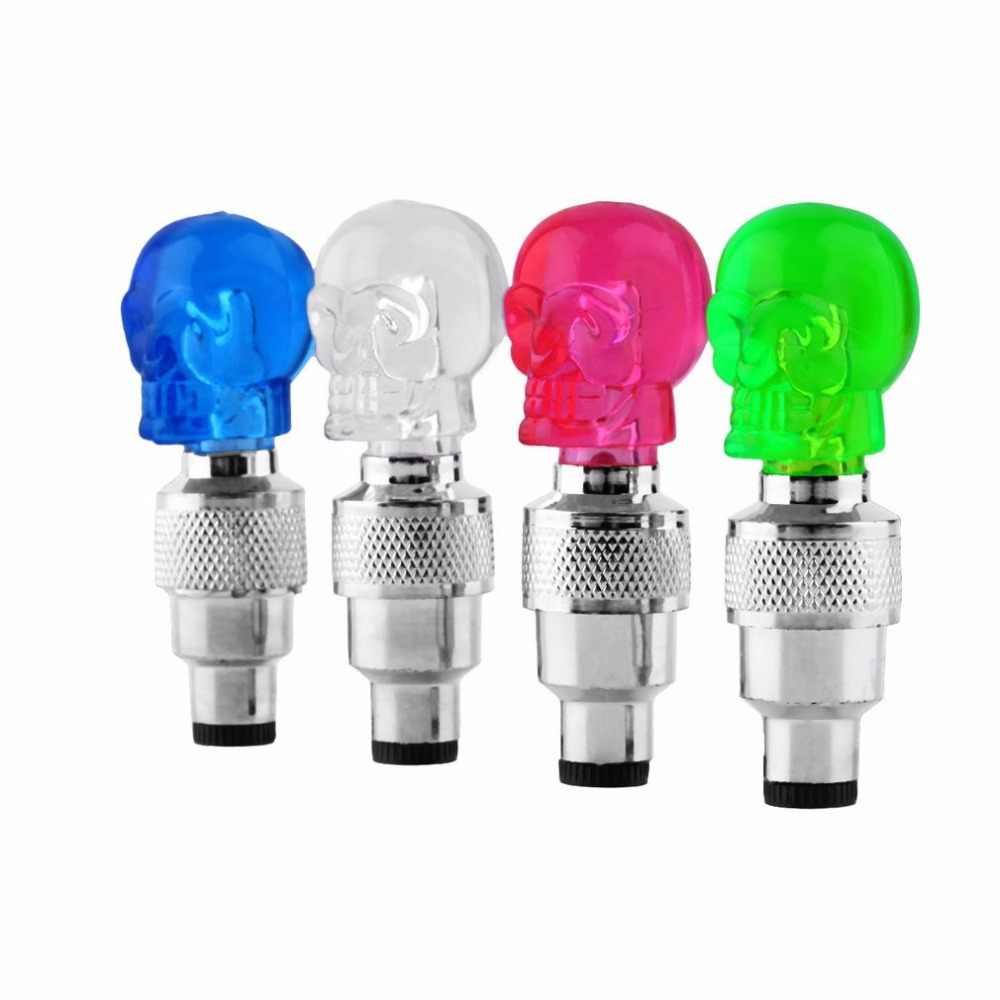 גולגולת צורת Valve שווי LED אור גלגל צמיג מנורת צבעוני אופניים אביזרי עבור מכונית אופנוע אופני גלגל אור תנועה בטיחות