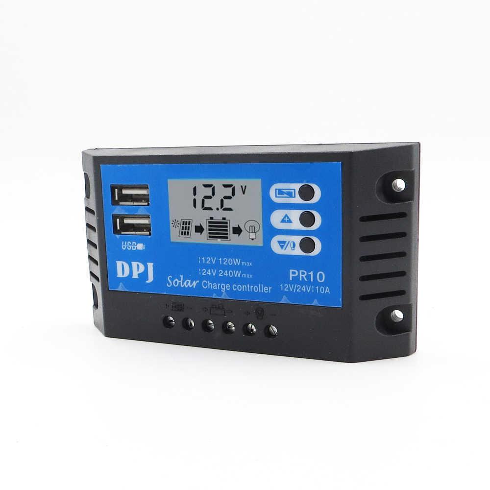 RP10 DC 12 V 24 V Авто 10A 100 W 200 W за максимальной точкой мощности, Солнечный контроллер заряда PWM регулятором солнечного солнечная батарея зарядное устройство для батареи Регуляторы PV с ЖК-дисплей Дисплей и 5 V
