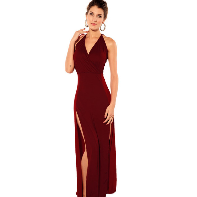 5735fdfd297d RED LONG V-NECK DRESS Low Cut Full Length Cocktail Halter Backless side  Slit Sexy
