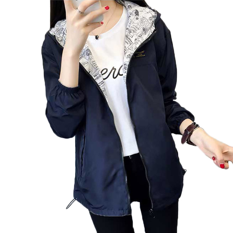 2019 Spring Women   Basic     Jacket   Pocket Zipper Hooded Two Side Wear Cartoon Print Outwear Loose Coat Windbreaker Female   jackets