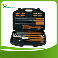 18 Piece Stainless Steel Barbecue Tool Sets Storage Case Packed Wood Handles BBQ Tools
