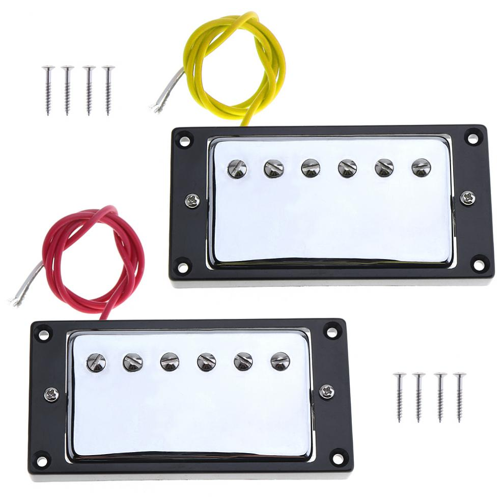 2pcs Guitar Sound Pickup Microphone Amplifier Speaker Dual Pickups with Double Coil for Electric Guitar electric guitar pickups humbucker double coil pickup guitar parts accessories black