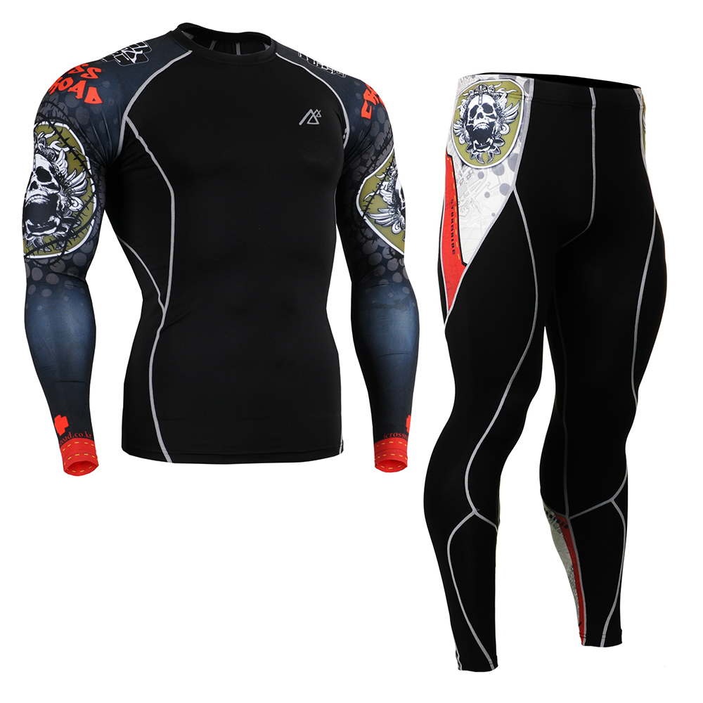 Men Compression Shirts Pants Tights Cycling Base Layer Skin Set Gym Training MMA Workout Fitness Yoga Clothing Set CPD/P2L-B5