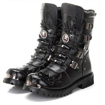 Schwarz Armee Gothic Stiefel Männer Militär Kampf Metall Schädel Schnalle Motorrad Punk Hoch Leder herren Schuhe Rock Bota Masculina heißer