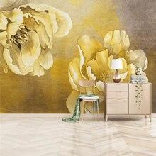 Настенные обои на заказ абстрактные золотые цветы открытые богатые